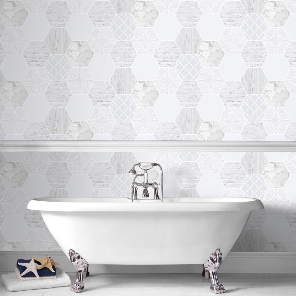 Graham and Brown Contour Hexagonal Marble 103854 Wallpaper